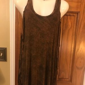 NWT T-Party Fringed Ladies Brown Cami Size Medium